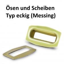 Ösen Typ rechteckig 38x8 mm. Inhalt 25 Stück bestehend aus Ober und Unterteil in Messing